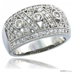 Sterling Silver Vintage Style Crisscross Dome Ring Band w/ Brilliant Cut CZ Stones, 7/16 in. (11 mm) wide