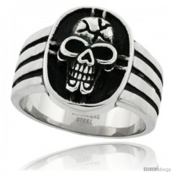 Surgical Steel Biker Skull Ring & Cross 3/4 in wide