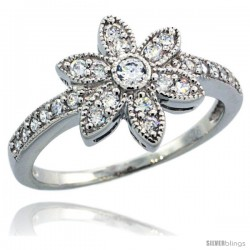 Sterling Silver Vintage Style 6-Petal Flower Ring w/ Brilliant Cut CZ Stones, 1/2 in. (12 mm) wide