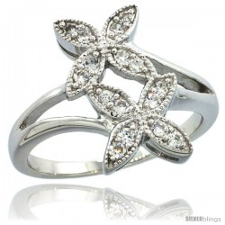 Sterling Silver Double Butterfly Ring w/ Brilliant Cut CZ Stones, 5/8 in. (16 mm) wide