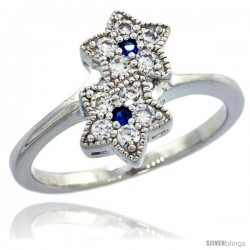 Sterling Silver Double Star Flower Ring w/ Brilliant Cut Clear & Blue Sapphire Color CZ Stones, 1/2 in. (12.5 mm) wide