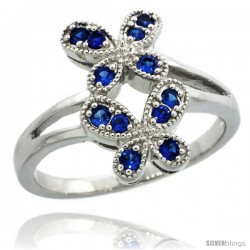 Sterling Silver Double Butterfly Ring w/ Brilliant Cut Blue Sapphire Color CZ Stones, 5/8 in. (16 mm) wide