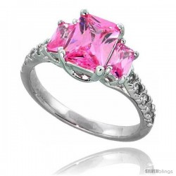 Sterling Silver Vintage Style Engagement ring, w/ two 5 x 3 mm (.25 ct) & one 8 x 6 mm Emerald Cut Pink-colored CZ Stones