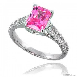 "Sterling Silver Vintage Style Engagement ring, w/ an 8 x 6 mm (1.5 ct) Emerald Cut Pink-colored CZ Stone, 5/16"" (8 mm) wide"