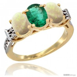 10K Yellow Gold Natural Emerald & Opal Sides Ring 3-Stone Oval 7x5 mm Diamond Accent