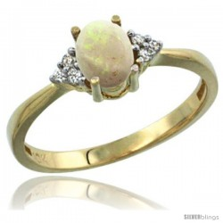 10k Yellow Gold Ladies Natural Opal Ring oval 7x5 Stone