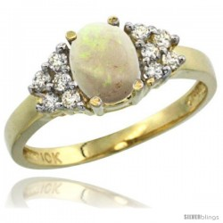 10k Yellow Gold Ladies Natural Opal Ring oval 8x6 Stone