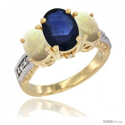 10K Yellow Gold Ladies 3-Stone Oval Natural Blue Sapphire Ring with Opal Sides Diamond Accent