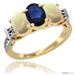 10K Yellow Gold Natural Blue Sapphire & Opal Sides Ring 3-Stone Oval 7x5 mm Diamond Accent