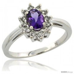 10k White Gold Amethyst Diamond Halo Ring Oval Shape 1.2 Carat 6X4 mm, 1/2 in wide