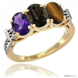 10K Yellow Gold Natural Amethyst, Smoky Topaz & Tiger Eye Ring 3-Stone Oval 7x5 mm Diamond Accent