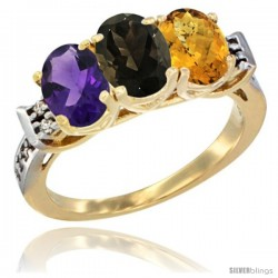 10K Yellow Gold Natural Amethyst, Smoky Topaz & Whisky Quartz Ring 3-Stone Oval 7x5 mm Diamond Accent