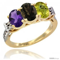10K Yellow Gold Natural Amethyst, Smoky Topaz & Lemon Quartz Ring 3-Stone Oval 7x5 mm Diamond Accent
