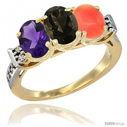 10K Yellow Gold Natural Amethyst, Smoky Topaz & Coral Ring 3-Stone Oval 7x5 mm Diamond Accent