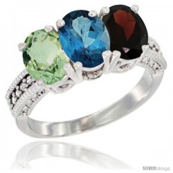 14K White Gold Natural Green Amethyst, London Blue Topaz & Garnet Ring 3-Stone 7x5 mm Oval Diamond Accent