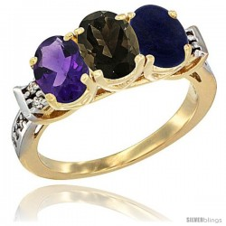 10K Yellow Gold Natural Amethyst, Smoky Topaz & Lapis Ring 3-Stone Oval 7x5 mm Diamond Accent