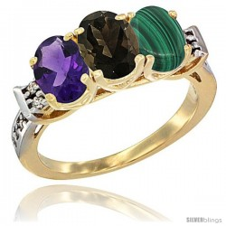 10K Yellow Gold Natural Amethyst, Smoky Topaz & Malachite Ring 3-Stone Oval 7x5 mm Diamond Accent