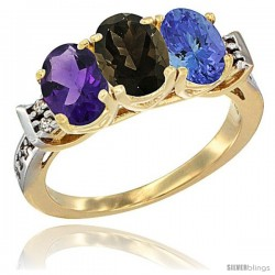 10K Yellow Gold Natural Amethyst, Smoky Topaz & Tanzanite Ring 3-Stone Oval 7x5 mm Diamond Accent
