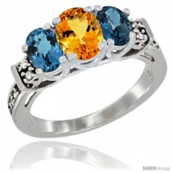 14K White Gold Natural Citrine & London Blue Ring 3-Stone Oval with Diamond Accent