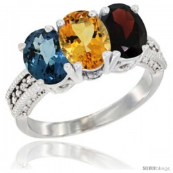14K White Gold Natural London Blue Topaz, Citrine & Garnet Ring 3-Stone 7x5 mm Oval Diamond Accent