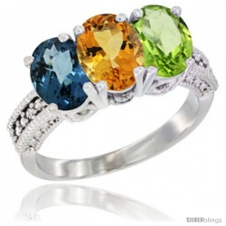 14K White Gold Natural London Blue Topaz, Citrine & Peridot Ring 3-Stone 7x5 mm Oval Diamond Accent