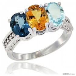 14K White Gold Natural London Blue Topaz, Citrine & Aquamarine Ring 3-Stone 7x5 mm Oval Diamond Accent