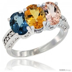 14K White Gold Natural London Blue Topaz, Citrine & Morganite Ring 3-Stone 7x5 mm Oval Diamond Accent