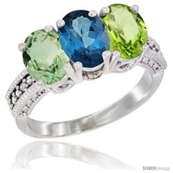 14K White Gold Natural Green Amethyst, London Blue Topaz & Peridot Ring 3-Stone 7x5 mm Oval Diamond Accent