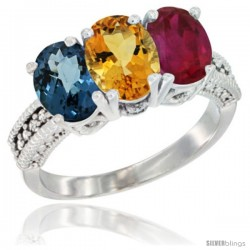 14K White Gold Natural London Blue Topaz, Citrine & Ruby Ring 3-Stone 7x5 mm Oval Diamond Accent