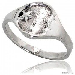 Sterling Silver Moon & Star Ring 3/8 wide