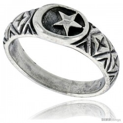 Sterling Silver Crescent Moon & Star Ring