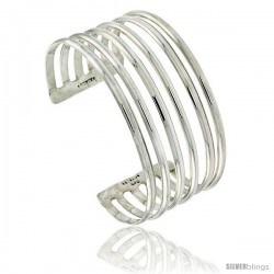 Sterling Silver 5 Row Wire Cuff Bangle Bracelet 1 in wide