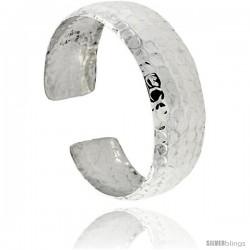 Sterling Silver Dome Cuff Bangle Bracelet Hammered Finish 1 in wide