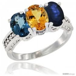 14K White Gold Natural London Blue Topaz, Citrine & Blue Sapphire Ring 3-Stone 7x5 mm Oval Diamond Accent