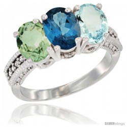 14K White Gold Natural Green Amethyst, London Blue Topaz & Aquamarine Ring 3-Stone 7x5 mm Oval Diamond Accent
