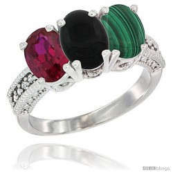 14K White Gold Natural Ruby, Black Onyx & Malachite Ring 3-Stone Oval 7x5 mm Diamond Accent