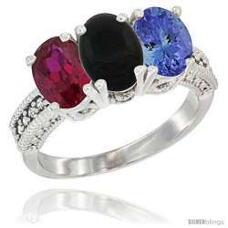 14K White Gold Natural Ruby, Black Onyx & Tanzanite Ring 3-Stone Oval 7x5 mm Diamond Accent