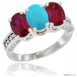 14K White Gold Natural Turquoise & Ruby Sides Ring 3-Stone Oval 7x5 mm Diamond Accent
