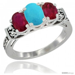 14K White Gold Natural Turquoise & Ruby Ring 3-Stone Oval with Diamond Accent