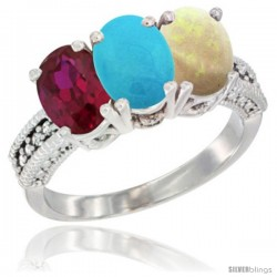 14K White Gold Natural Ruby, Turquoise & Opal Ring 3-Stone Oval 7x5 mm Diamond Accent