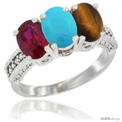 14K White Gold Natural Ruby, Turquoise & Tiger Eye Ring 3-Stone Oval 7x5 mm Diamond Accent