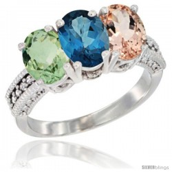 14K White Gold Natural Green Amethyst, London Blue Topaz & Morganite Ring 3-Stone 7x5 mm Oval Diamond Accent
