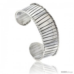 Sterling Silver Cuff Bangle Bracelet with Horizontal Stripes Rope Edges 13/16 in wide