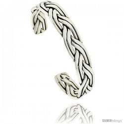 Sterling Silver Celtic Knot 6 Row Wire Cuff Bangle Bracelet 1/2 in wide