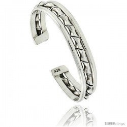 Sterling Silver 3 Row Wire Cuff Bangle Bracelet with Bamboo Twist 7/16 in wide