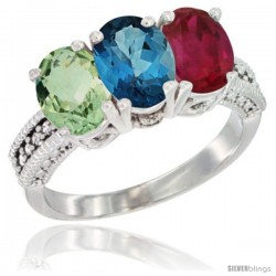 14K White Gold Natural Green Amethyst, London Blue Topaz & Ruby Ring 3-Stone 7x5 mm Oval Diamond Accent