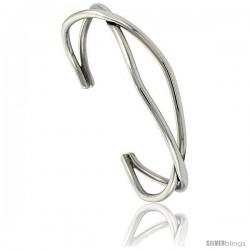 Sterling Silver Double Wire Cuff Bangle Bracelet 9/16 in wide