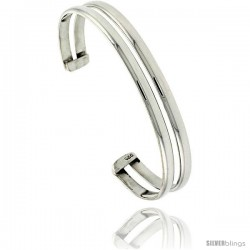 Sterling Silver 2 Row Dome Wire Cuff Bangle Bracelet 5/8 in wide