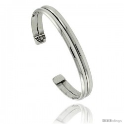 Sterling Silver Double Dome Wire Cuff Bangle Bracelet 5/16 in wide