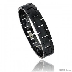 Ceramic Black Bracelet Magnetic Therapy H Links, 7/16 in wide